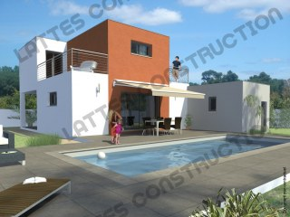 Villa à étage - Toit terrasse - Contemporaine - Architecte - Lattes Construction - Montpellier - Hérault - Bâtisseur - Promoteur