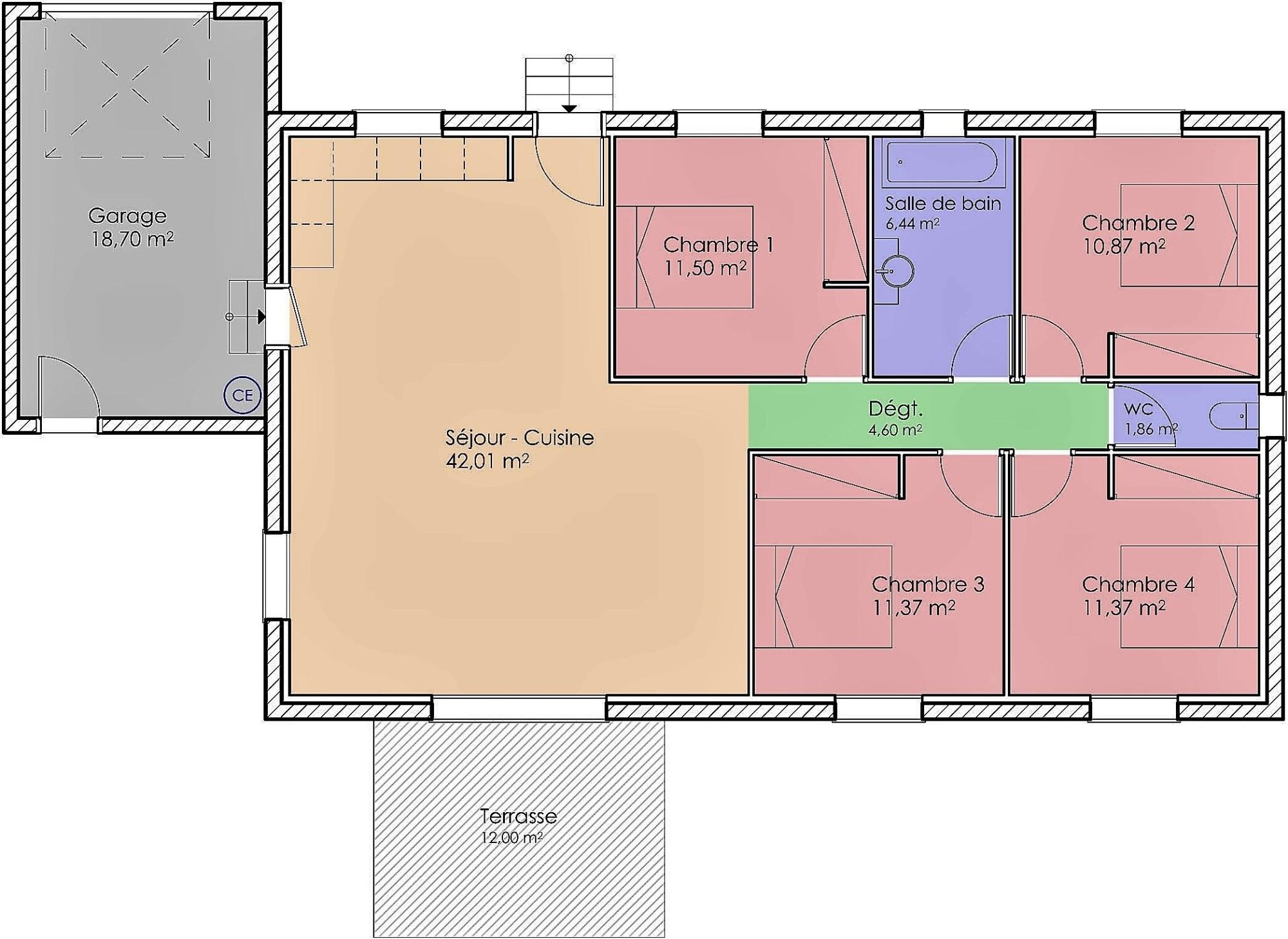 07- Plain Pied Traditionnelle 100 m²