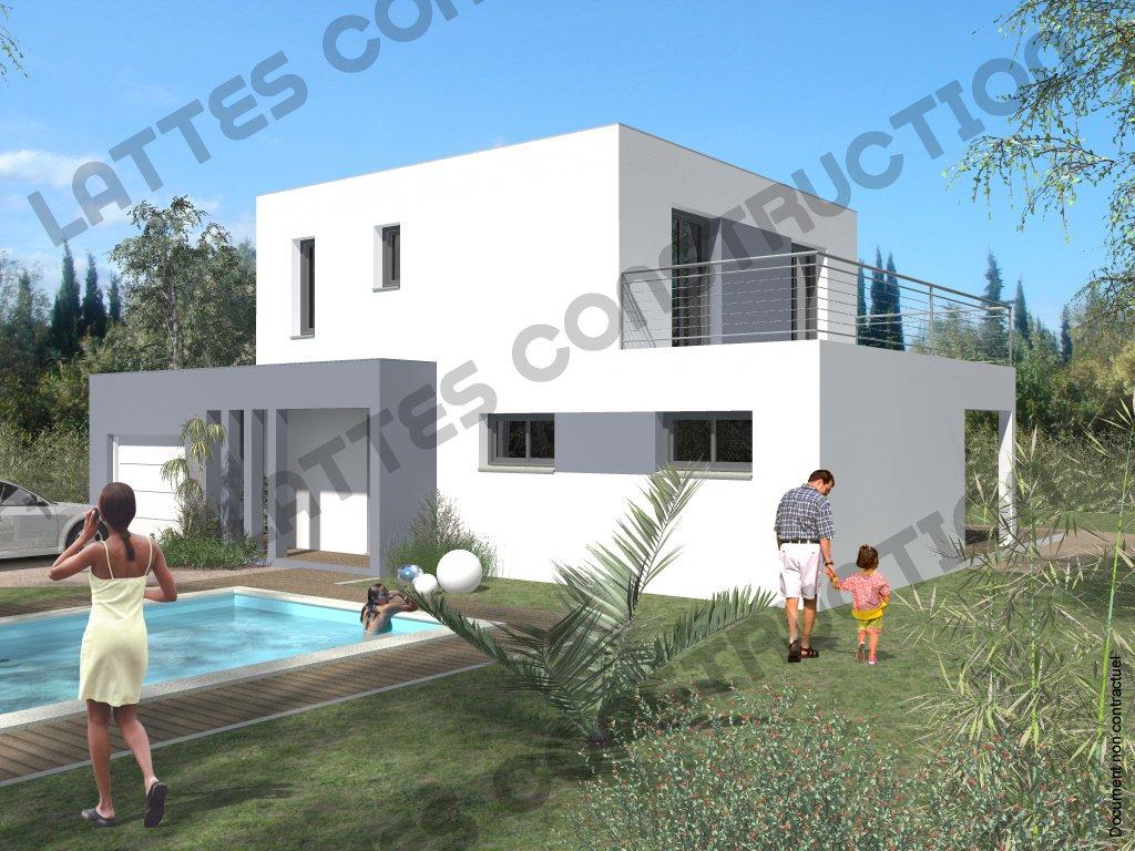 Villa à étage - Moderne - Toit Terrasse - Catalogue - Lattes Construction - Hérault - Villas - Terrains