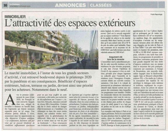L'attractivité des espaces verts - Le Parisien 05 février 2021 Le Franc Marché